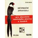 Informační zpravodaj pro chovatele exotického ptactva a kanárů Říjen/1974